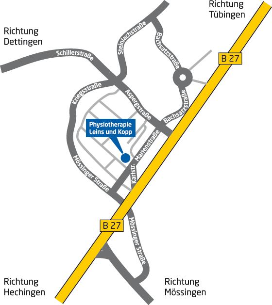 Anfahrtsplan Praxis Leins und Kopp